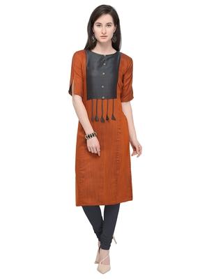 Rust & Grey Straight Rayon Cotton Reversible Fancy Kurti