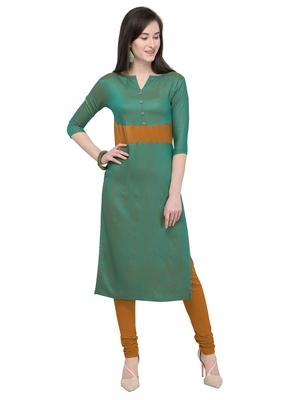 Green & Mustard Straight Rayon Cotton Reversible Fancy Kurti