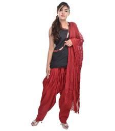 Maroon Cotton Patiala Salwar with Dupatta