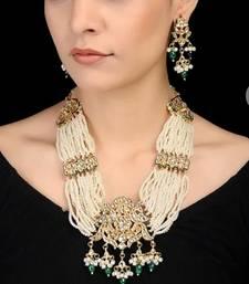 Golden semi precious beads kundan and pearl wedding  necklace-sets