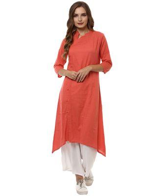 peach plain cotton stitched kurti