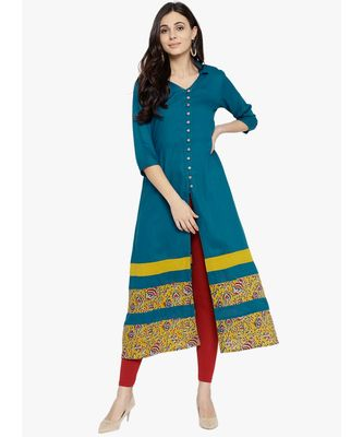 green plain rayon stitched kurti