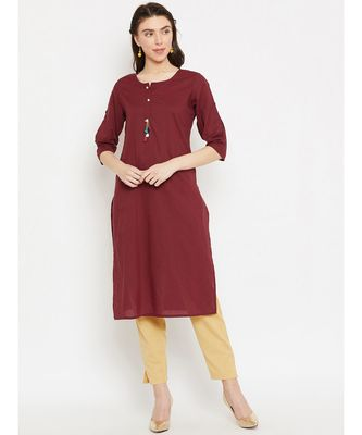 maroon printed cotton stitched kurti