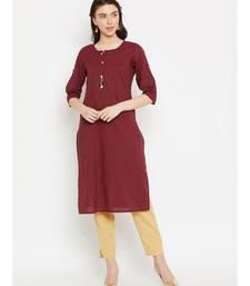 maroon printed cotton stitched kurti