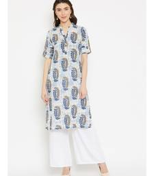 white printed cotton stitched kurti