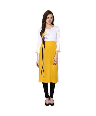 white embroidered rayon stitched kurti