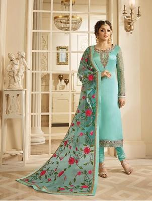 Light-turquoise embroidered satin salwar