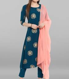 Turquoise printed crepe kurta sets