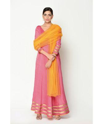 Peach Stripe Border Dress-Suit
