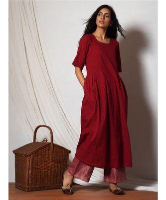 Red Kurta with Kota Silk Farshi Pant