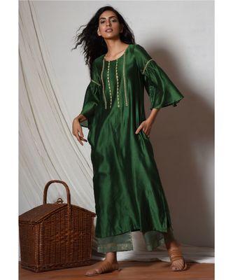 Cocktail Green Jute Kurta with Kota Silk Farshi Pant