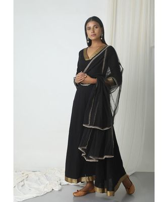 Black Golden Border Dupatta Dress