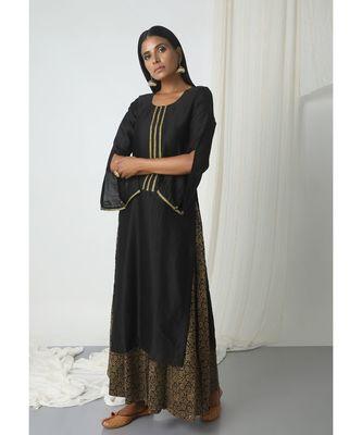 Black Floral Skirt-Kurta