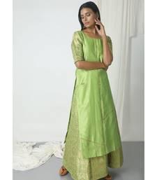 Chartreuse Green Brocade Chanderi Skirt-Kurta Set