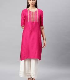 Pink printed linen kurta