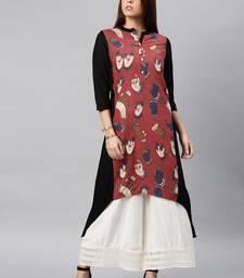 Black printed cotton kurta