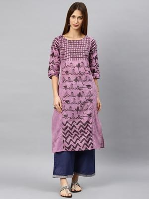 Purple woven cotton kurta