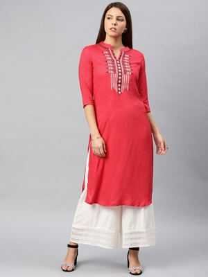 Red embroidered rayon kurta