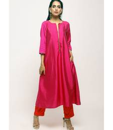 Pink Laced Kurta Set