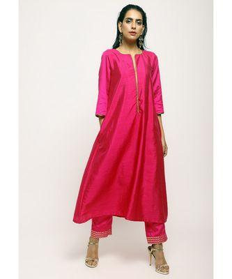 Pink Laced Kurta- Foil Pant