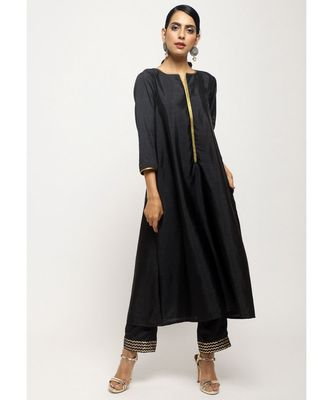 Black Laced Kurta- Foil Pant