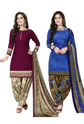 Combo printed crepe salwar with dupatta (combo of 2)