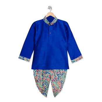 blue printed dupion silk stitched boys dhoti kurta