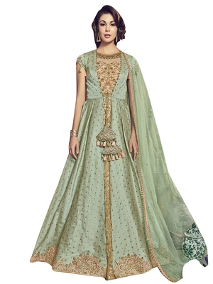 Green embroidered raw silk salwar