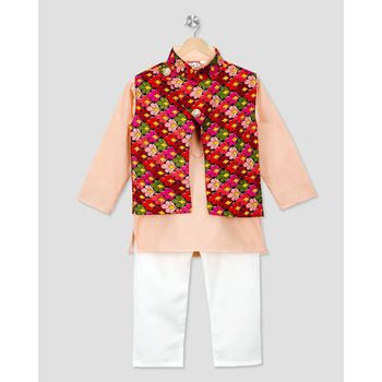 pink printed cotton stitched boys kurta pyjama