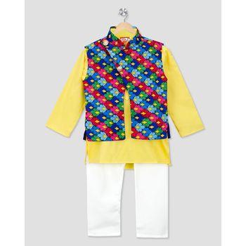 yellow printed cotton stitched boys kurta pyjama