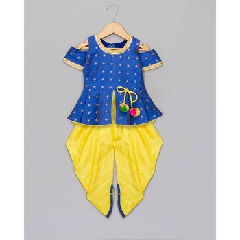 blue woven taffeta top with dhoti for girls