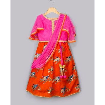 orange printed art_silk stitched kids-lehenga-choli