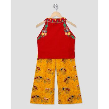 red embroidered cotton stitched kids tops