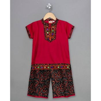 pink embroidered cotton stitched kids tops