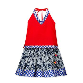 red printed cotton stitched kids tops
