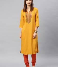 Mustard embroidered rayon kurta