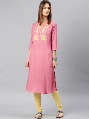 Pink embroidered rayon kurta