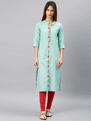 Blue printed rayon kurta