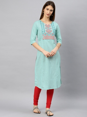 Blue plain rayon kurta