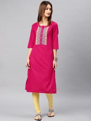 Pink plain rayon kurta