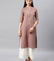 Brown printed cotton kurta
