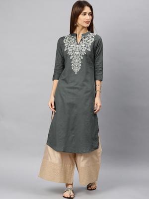 Grey embroidered cotton kurta