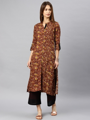 Brown printed rayon kurta