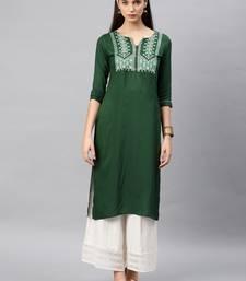 Green embroidered rayon kurta