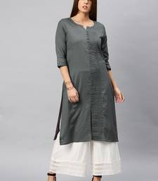 Grey plain cotton kurta