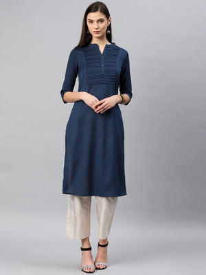 Navy-blue plain cotton kurta
