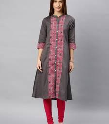 Grey plain cotton kurta