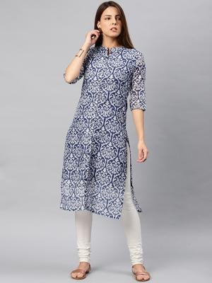 Navy-blue printed chanderi kurta