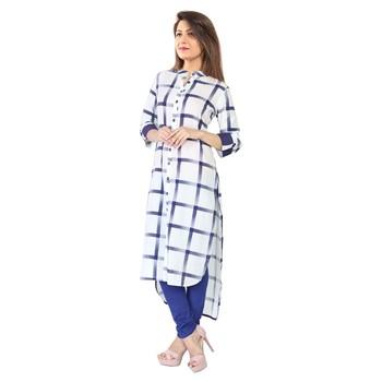 White block print cotton kurti