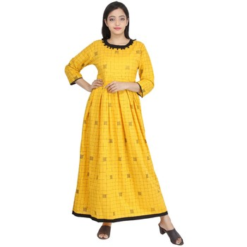 Yellow block print cotton kurti